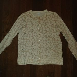 NWOT Charter Club Cream/Brown Floral Cardigan M